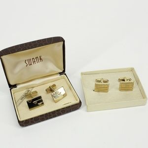 Set of 2 Vintage Swank Gold Cuff Links